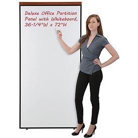 "Deluxe Office Partition Panel with Whiteboard, 36-1/4""W x 73-1/2""H"