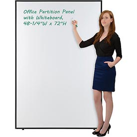 "Interion™ Office Cubicle Partition Panel with Double-sided Whiteboard, 48-1/4""W x 72""H"