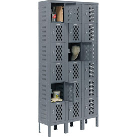 Infinity™ Heavy Duty Ventilated Steel Locker, Six Tier, 3-Wide, 12x15x12, Unassembled, Gray