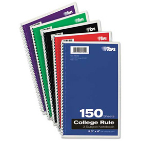 Tops Wirebound 3-Subject Notebook, College Rule,9-1/2 x 6, White, 150 Sheets/Pad