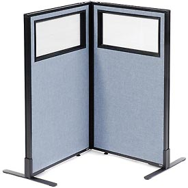 """Freestanding 2-Panel Corner Room Divider with Partial Window, 24-1/4""""W x 42""""H Panels, Blue"""