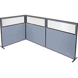 "Freestanding 3-Panel Corner Room Divider with Partial Window, 60-1/4""W x 60""H Panels, Blue"