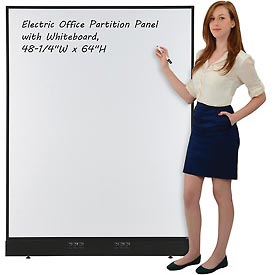 """Electric Office Partition Panel with Whiteboard, 48-1/4""""W x 64""""H"""