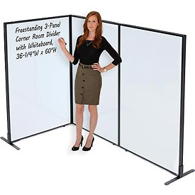 """Freestanding 3-Panel Corner Room Divider with Whiteboard, 36-1/4""""W x 60""""H"""