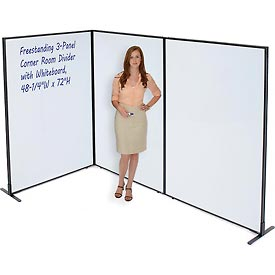 "Freestanding 3-Panel Corner Room Divider with Whiteboard, 48-1/4""W x 72""H"