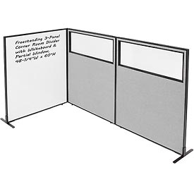 "3-Panel Corner Room Divider with Whiteboard & Partial Window, 48-1/4""W x 60""H, Gray"