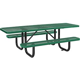 "96"" ADA Expanded Metal Picnic Table, Green"