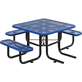 """46"""" Wheelchair Accessible Square Expanded Metal Picnic Table, Blue"""