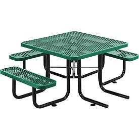 "46"" Wheelchair Accessible Square Expanded Metal Picnic Table, Green"