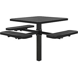 "46"" ADA Square In-Ground Mount Picnic Table, Expanded Metal, Black"