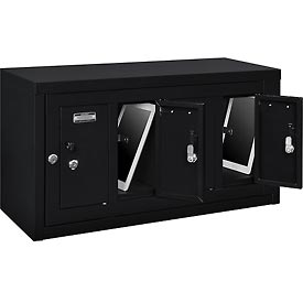 Global™ 4 Doors Tablet & Cell Phone Locker with Keyed Lock & Hasp and Master Door Open–Black
