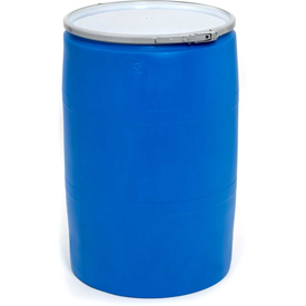 Mauser 55 Gallon Open-Head Plastic Drum with Plain Cover POLY55OHBLPC - Blue