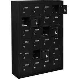 Global™ 24 Doors Tablet & Cell Phone Locker with Keyed Lock & Hasp and Master Door Open–Black