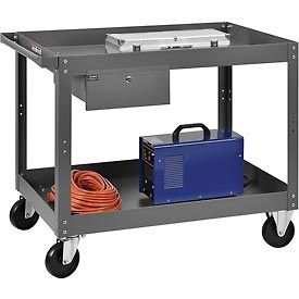 2 Shelf Deep Tray Steel Stock Cart 36x24 800 Lb. Capacity with 1 Drawer