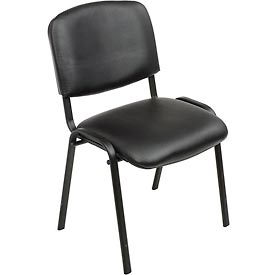 Stacking Guest Chair (Assembled) - Vinyl - Black - Pkg Qty 4