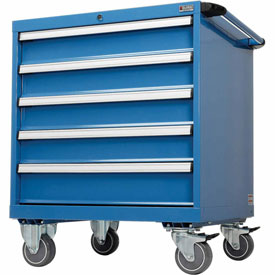 "Global™Mobile Modular Drawer Cabinet, 5 Drawers, w/Lock, no Dividers, 30""Wx27""Dx36-7/10""H Blue"