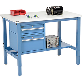 """48""""W X 30""""D Production Workbench - ESD Laminate Square Edge with Drawers & Shelf - Blue"""
