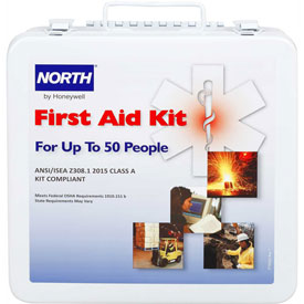 North FAK50STL-CLSA First Aid Kit, 50 Person, 180 Pieces, Class A, Steel Case