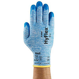 Ansell 11-920-9 HyFlex Coated Work Gloves, Nitrile Grip, 15-Gauge, Large, Blue Package Count 12 by