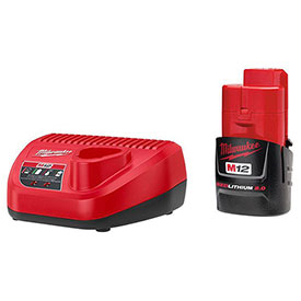 Buy Milwaukee 48-59-2420 M12 12-Volt Lithium-Ion Compact Battery Pack 2.0Ah & Charger Starter Kit