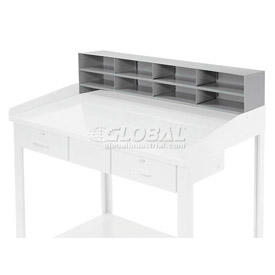 "8 Pigeon Hole Riser for 48""W Shop Desk - Gray"