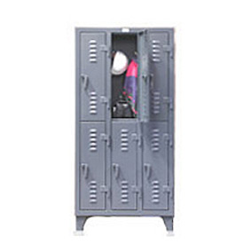 Strong Hold® Heavy Duty Slim-Line Locker 16-18-2TSLx - Double Tier 14x18x78 2 Door