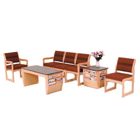 Chair/4 Seat Without Center Arms Light Oak Beige Vinyl