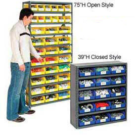 "6 Shelf Closed Steel Shelving With 17 Akro Bins 36""X12""X39"""