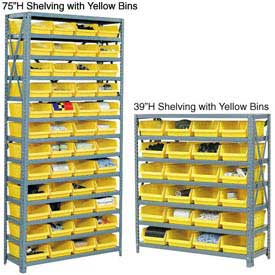 "Steel Shelving With 36 4""H Plastic Shelf Bins Blue, 36x18x75-13 Shelves"