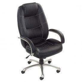 Interion® Saddle Stitched High Back Leather Office Chair