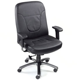 Interion® Big & Tall Contoured Leather Office Chair