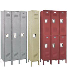 Penco 68343R028-KD Recessed Handle Triple Tier Locker 12x15x24 Unassembled 3 Wide Gray