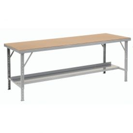 "96"" W x 28"" D Heavy-Duty Extra Long Hardboard Folding Assembly Workbench - Gray"