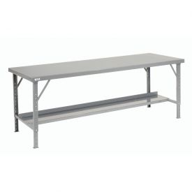"120"" W x 28"" D Heavy-Duty Extra Long Folding Assembly Workbench - Gray"
