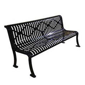 "72"" Roll Formed Diamond Bench with Back No Armrests - Black"