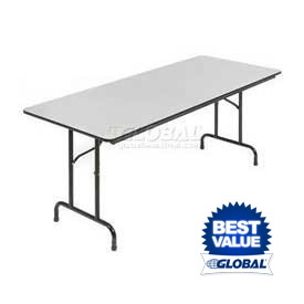 Interion® - 6' Folding Table with Gray Melamine Top