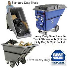 Deluxe Plastic Tilt Trucks - up to 1 Cu. Yd. Capacity