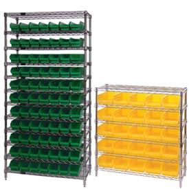 Chrome Wire Shelving With 4 Inch High Shelf Bins