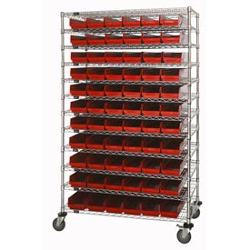 Wide Chrome Wire Shelving With 4 Inch High Shelf Bins