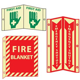 Glow Flanged Fire Safety Signs
