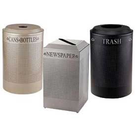 Rubbermaid® Silhouette Perforated Steel Recycling Receptacles With Decals