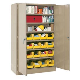 "Locking Storage Cabinet 30""W X 15""D X 66""H With 21 Yellow Shelf Bins and 6 Shelves Unassembled"