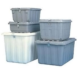 Shirley K's 850203-850303 Security Shipping Container With Lid 2 Hasps,30-7/8x21-5/8x16-3/4, Gray
