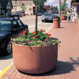 Wausau Tile - Round Tall Concrete Planters – 36 Inch Wide