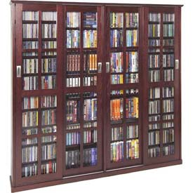 Leslie Dame -  Solid Oak Veneer Sliding Glass Door Multimedia Storage Cabinets
