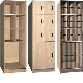 Ironwood Four Tier Compartment Wood Lockers