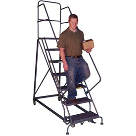 Heavy-Duty 600 Lb. Capacity Safety Angle Steel Rolling Ladders