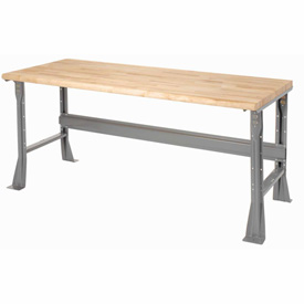 "72""W X 30""D X 34""H Maple Butcher Block Safety Edge Workbench - Gray"