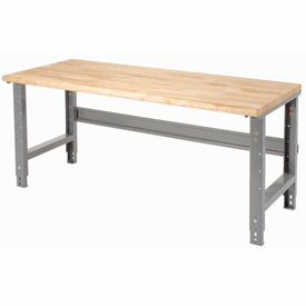 "72""W X 30""D Maple Butcher Block Safety Edge Work Bench - Adjustable Height - 1 3/4"" Top - Gray"
