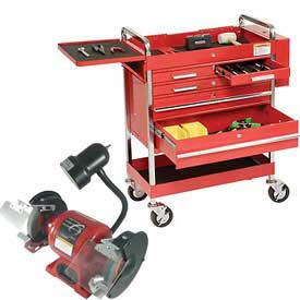 Sunex® 5-Drawer Tool Carts w/ FREE Bench Grinder